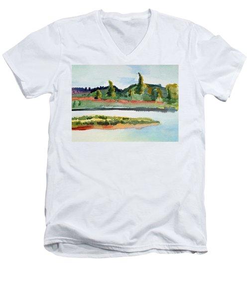 White River At Royalton After Edward Hopper Men's V-Neck T-Shirt