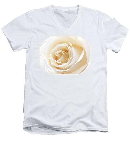 White Rose Heart Men's V-Neck T-Shirt by Gill Billington