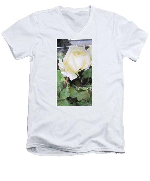 White Rose - Sympathy Card Men's V-Neck T-Shirt