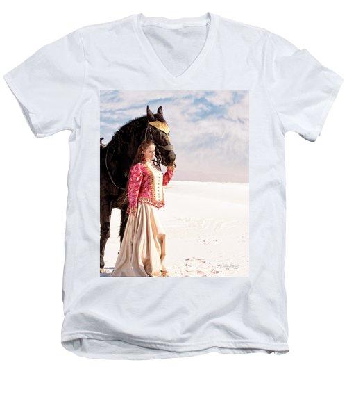 White Sands Horse And Rider #2a Men's V-Neck T-Shirt