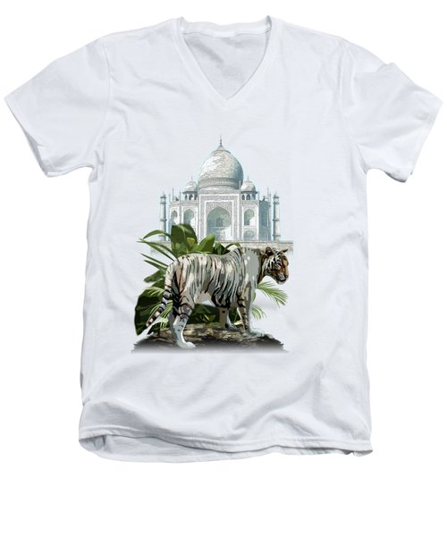 White Tiger And The Taj Mahal Image Of Beauty Men's V-Neck T-Shirt