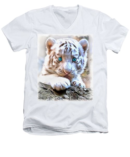 White Tiger Cub Men's V-Neck T-Shirt