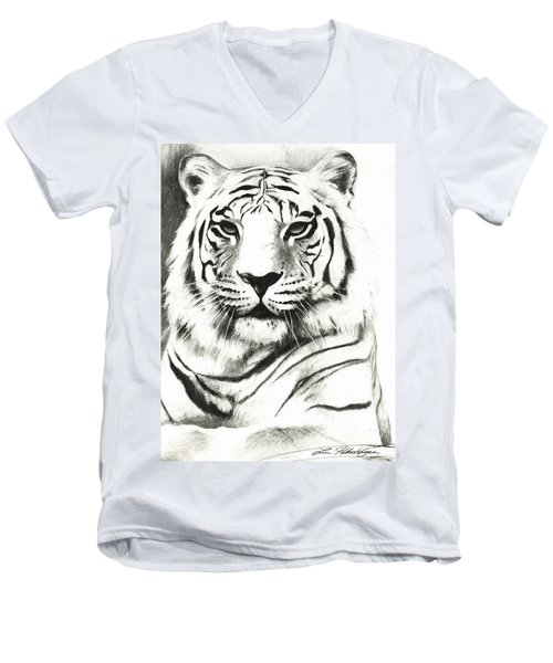 White Tiger Portrait Men's V-Neck T-Shirt