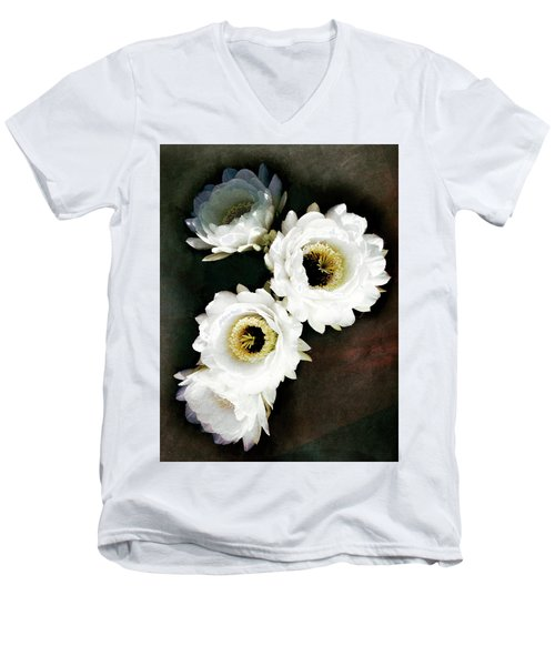 White Torch Blooms Men's V-Neck T-Shirt