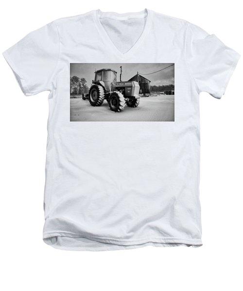 White Tractor Men's V-Neck T-Shirt