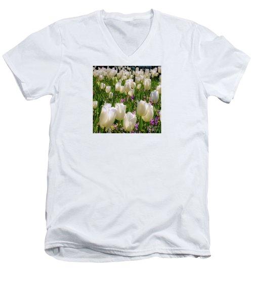 White Tulips In Bloom Men's V-Neck T-Shirt