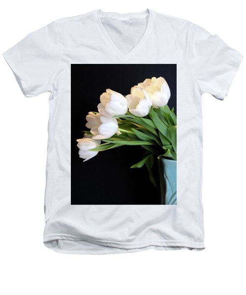White Tulips In Blue Vase Men's V-Neck T-Shirt by Julia Wilcox
