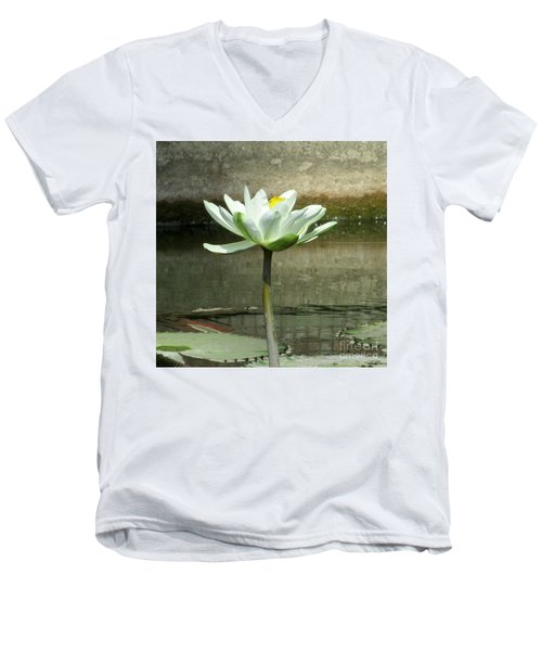 Men's V-Neck T-Shirt featuring the photograph White Water Lily 2 by Randall Weidner