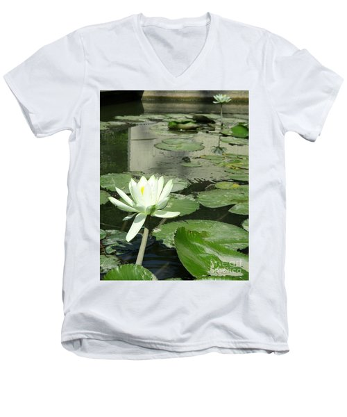 Men's V-Neck T-Shirt featuring the photograph White Water Lily 3 by Randall Weidner
