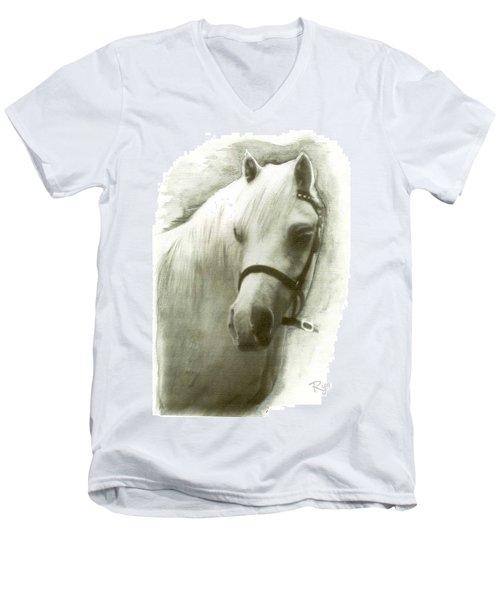 White Welsh Pony Men's V-Neck T-Shirt