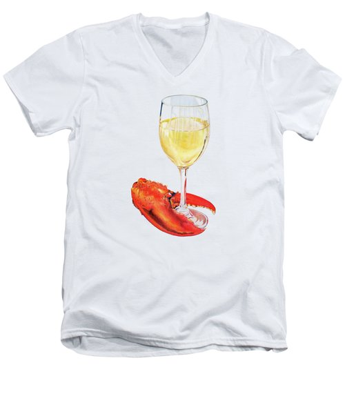 White Wine And Lobster Claw Men's V-Neck T-Shirt