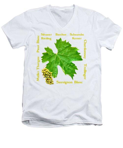 White Wine Lettering Men's V-Neck T-Shirt
