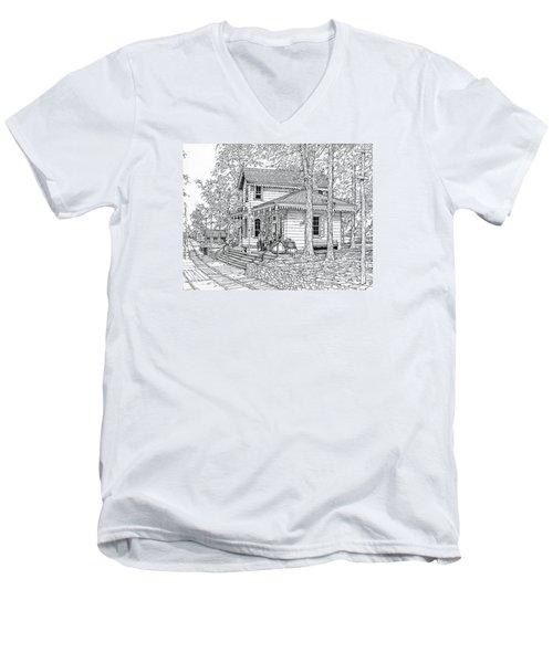 Whitehall Station Bryn Mawr Pennsylvania Men's V-Neck T-Shirt by Ira Shander