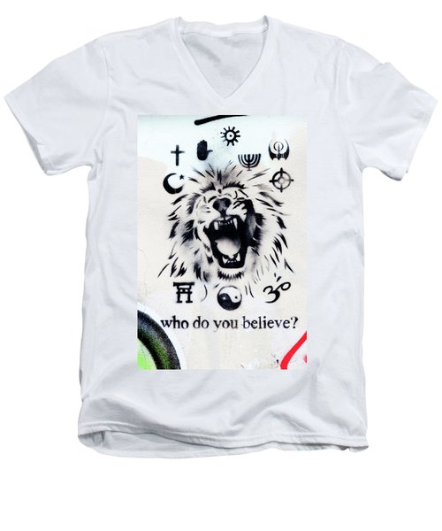 Men's V-Neck T-Shirt featuring the photograph Who Do You Believe by Art Block Collections