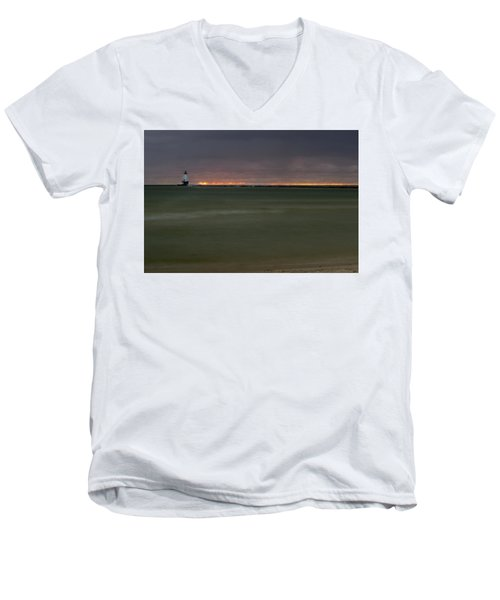 Wide View Of Lighthouse And Sunset Men's V-Neck T-Shirt