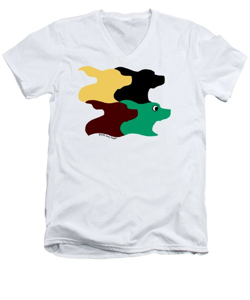 Wild And Crazy Tessellating Dogs Men's V-Neck T-Shirt