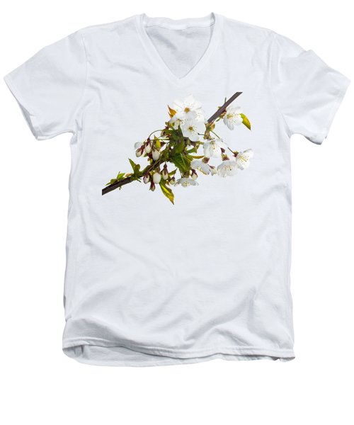 Men's V-Neck T-Shirt featuring the photograph Wild Cherry Blossom Cluster by Jane McIlroy