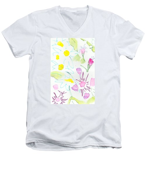 Wild Daisies Pattern Men's V-Neck T-Shirt