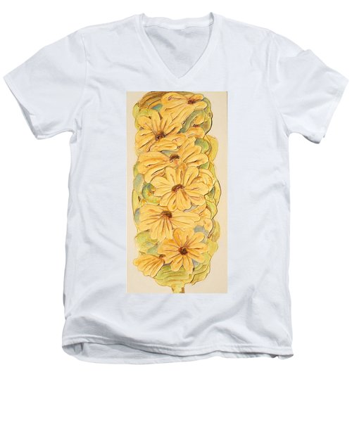 Wild Flower Abstract Men's V-Neck T-Shirt by Theresa Marie Johnson