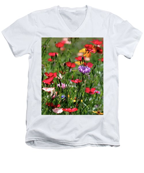 Wild Flower Meadow  Men's V-Neck T-Shirt
