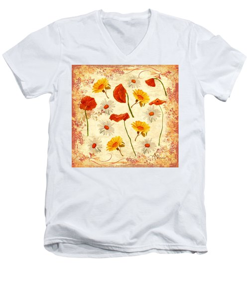 Wild Flowers Vintage Men's V-Neck T-Shirt