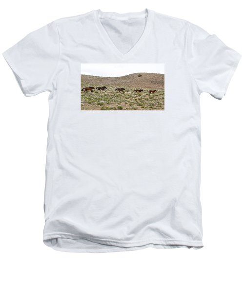 Wild Mustang Herd Running Men's V-Neck T-Shirt