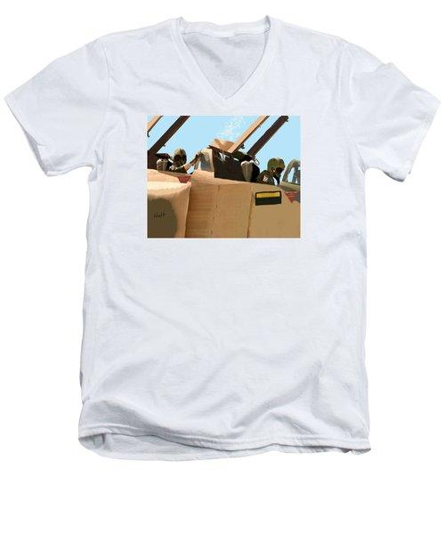Men's V-Neck T-Shirt featuring the digital art Wild Weasels by Walter Chamberlain