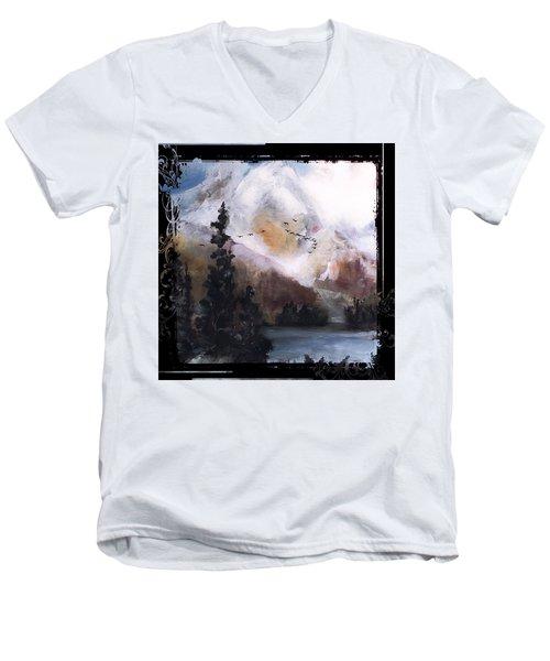 Wilderness Mountain Landscape Men's V-Neck T-Shirt by Michele Carter