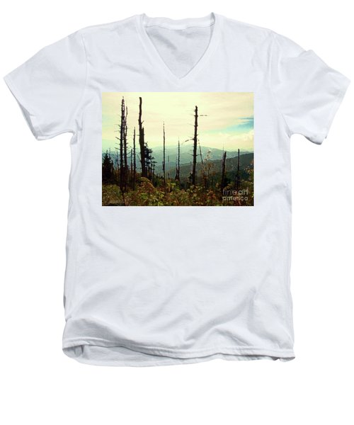 Men's V-Neck T-Shirt featuring the mixed media Wildfire by Desiree Paquette