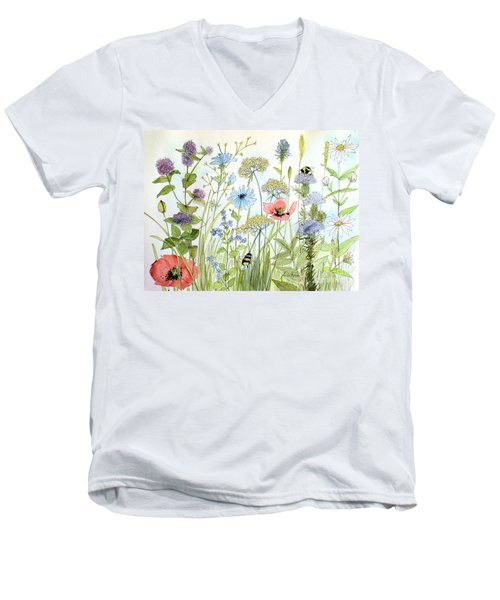 Wildflower And Bees Men's V-Neck T-Shirt