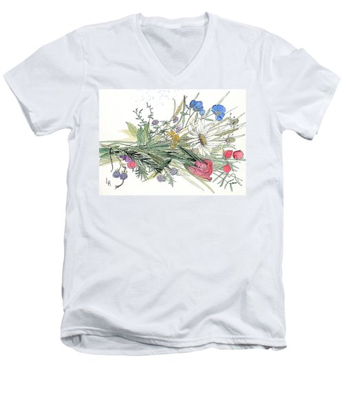 Wildflower Bouquet Men's V-Neck T-Shirt