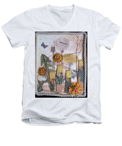 Men's V-Neck T-Shirt featuring the mixed media Wildflower Honey by Sandy McIntire
