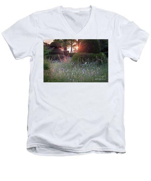 Wildflower Meadow At Sunset, Great Dixter Men's V-Neck T-Shirt