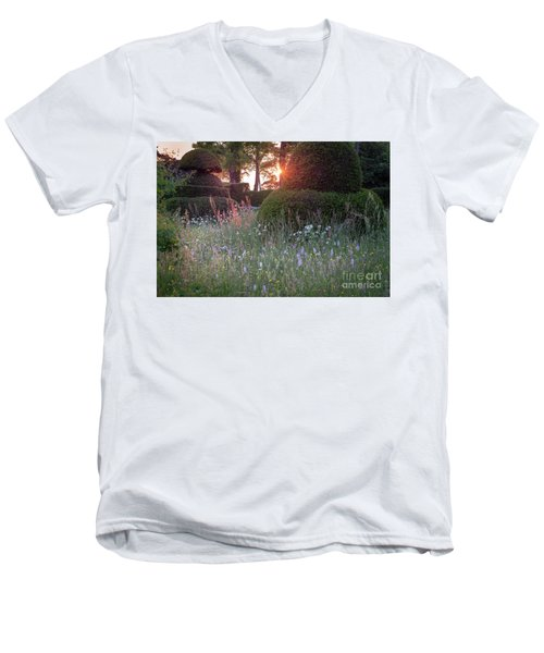 Wildflower Meadow At Sunset, Great Dixter Men's V-Neck T-Shirt