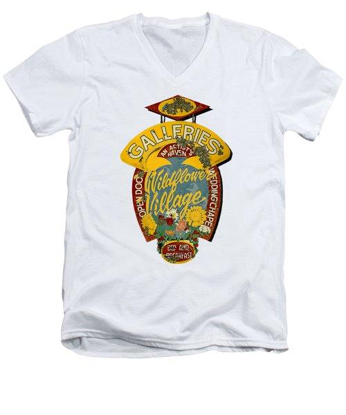Wildflower Village Men's V-Neck T-Shirt by Rick Mosher