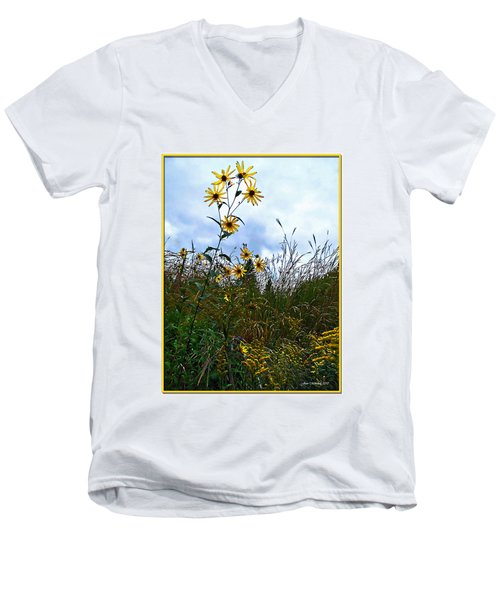 Men's V-Neck T-Shirt featuring the photograph Wildflowers And Mentor Marsh by Joan  Minchak