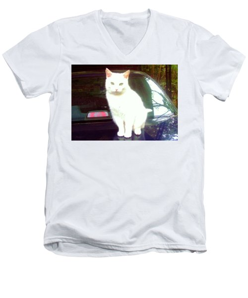 Will Wash Car For Treats Men's V-Neck T-Shirt
