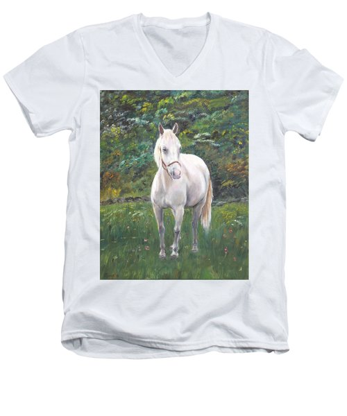 Men's V-Neck T-Shirt featuring the painting Willow by Elizabeth Lock