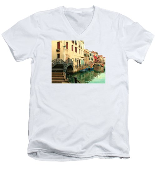 Winding Through The Watery Streets Of Venice Men's V-Neck T-Shirt by Barbie Corbett-Newmin