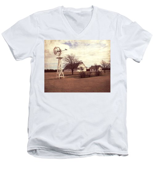 Men's V-Neck T-Shirt featuring the photograph Windmill At Cooper Barn by Julie Hamilton