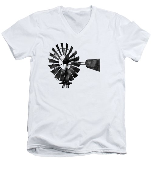 Windmill In Black And White Men's V-Neck T-Shirt by Hailey E Herrera