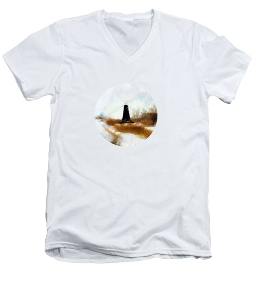 Windmill In The Snow Men's V-Neck T-Shirt