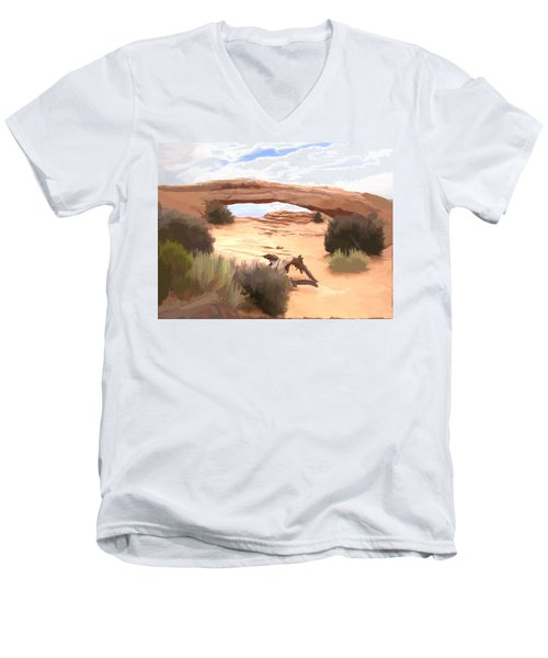 Men's V-Neck T-Shirt featuring the digital art Window On The Valley by Gary Baird