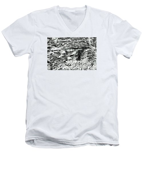 Window View Of Sope Creek In Black And White Men's V-Neck T-Shirt by James Potts