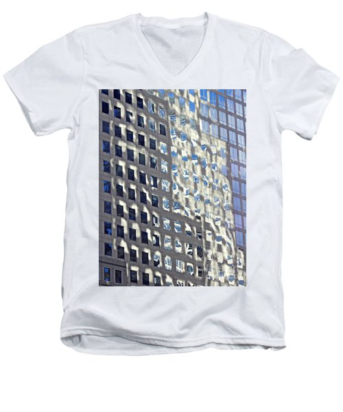 Men's V-Neck T-Shirt featuring the photograph Windows Of 2 World Financial Center 2 by Sarah Loft