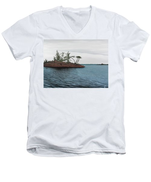 Windswept Island Georgian Bay Men's V-Neck T-Shirt
