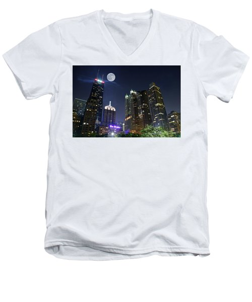 Windy City Men's V-Neck T-Shirt by Frozen in Time Fine Art Photography