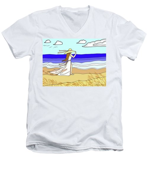 Windy Day At The Beach Men's V-Neck T-Shirt