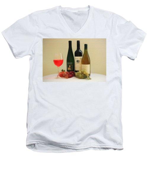 Wine Display Barn Door  Men's V-Neck T-Shirt by Dan Sproul