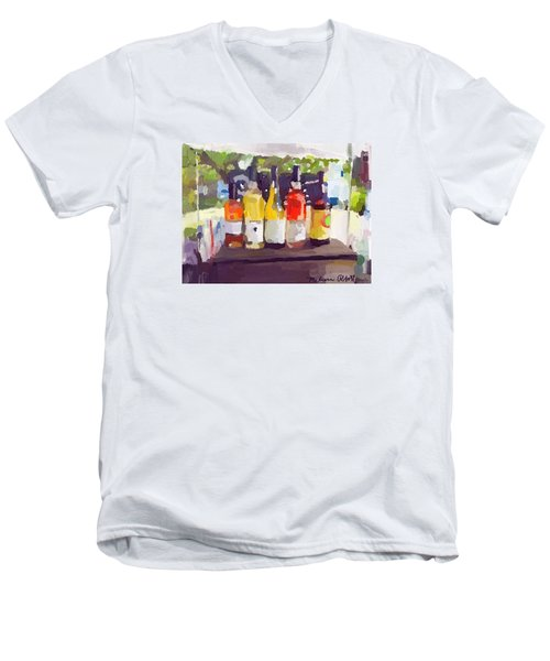 Wine Tasting Tent At Rockport Farmers Market Men's V-Neck T-Shirt by Melissa Abbott